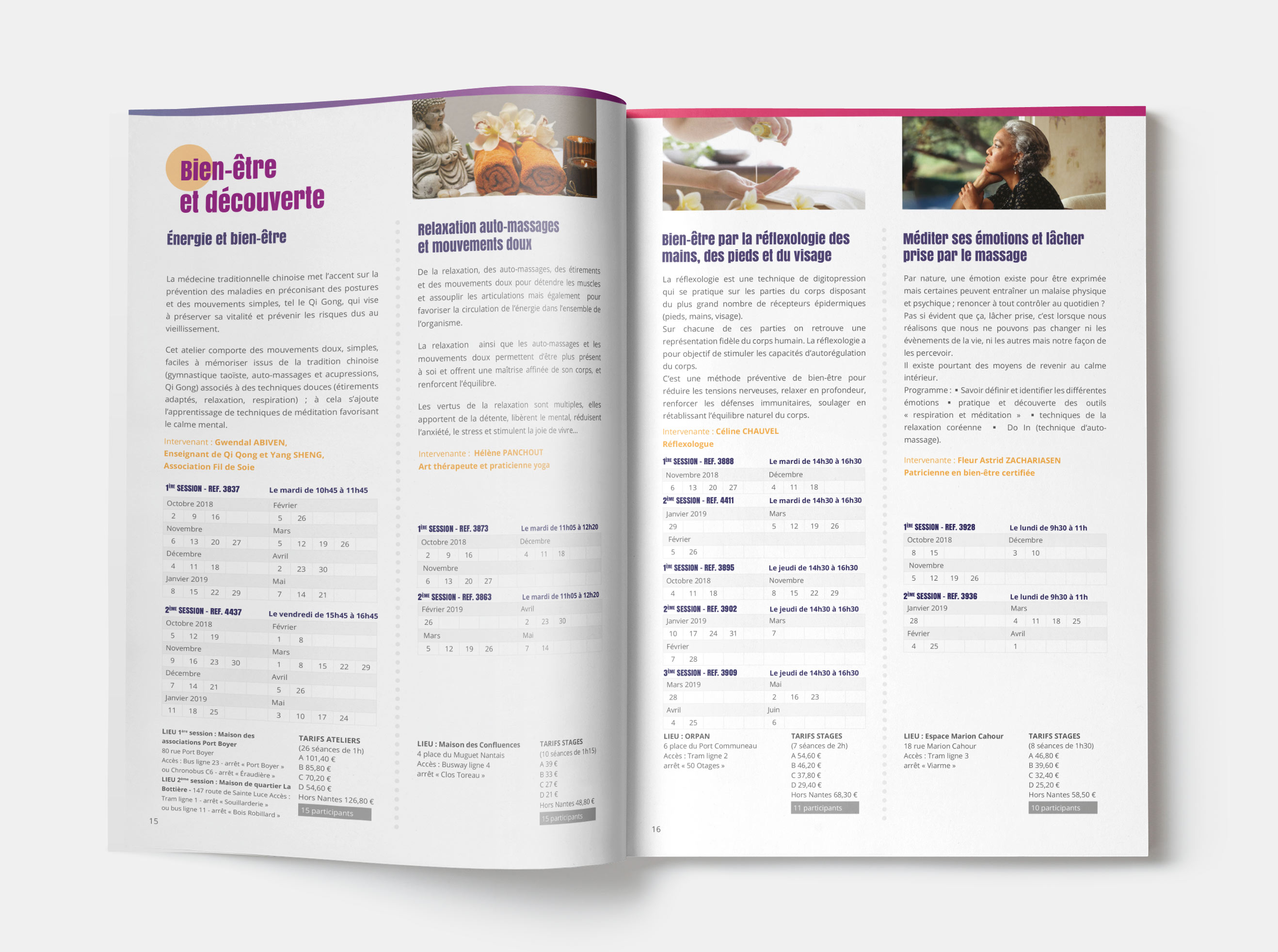 Brochure ouverte Orpan - l'association des seniors nantais - Design par Juwlius !